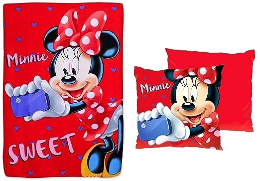 Manta polar Minnie Disney + cojín Minnie Disney: Amazon.es ...