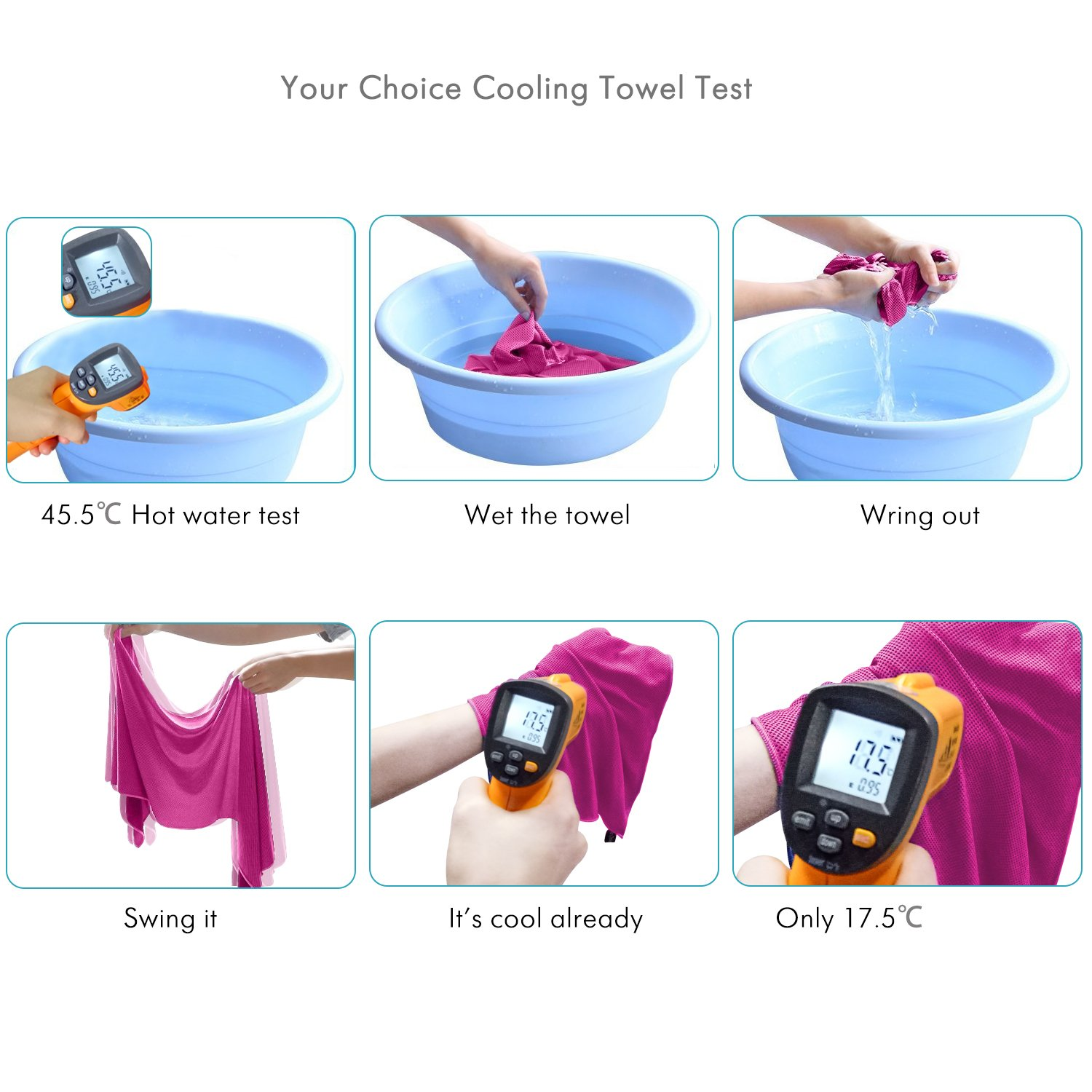 Your Choice Cooling Towel 4 Pack Instant Cool Sports Yoga