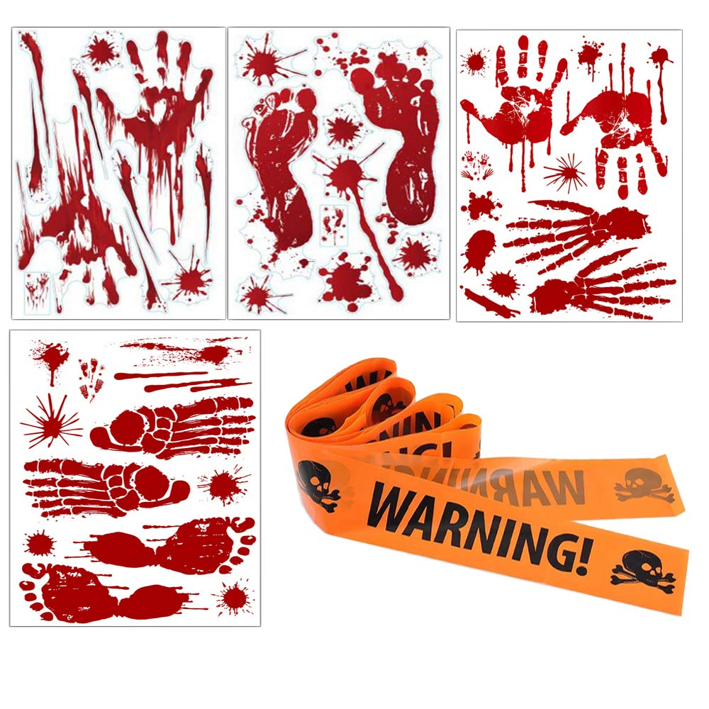 46 Pieces Halloween Decoration Prop Bloody Footprints Handprint with Caution Tape Window Wall Clings Decals Stickers Supplies for Halloween Vampire Zombie Party Decorations (4 sheets & 1 Caution Tape) Tebrun