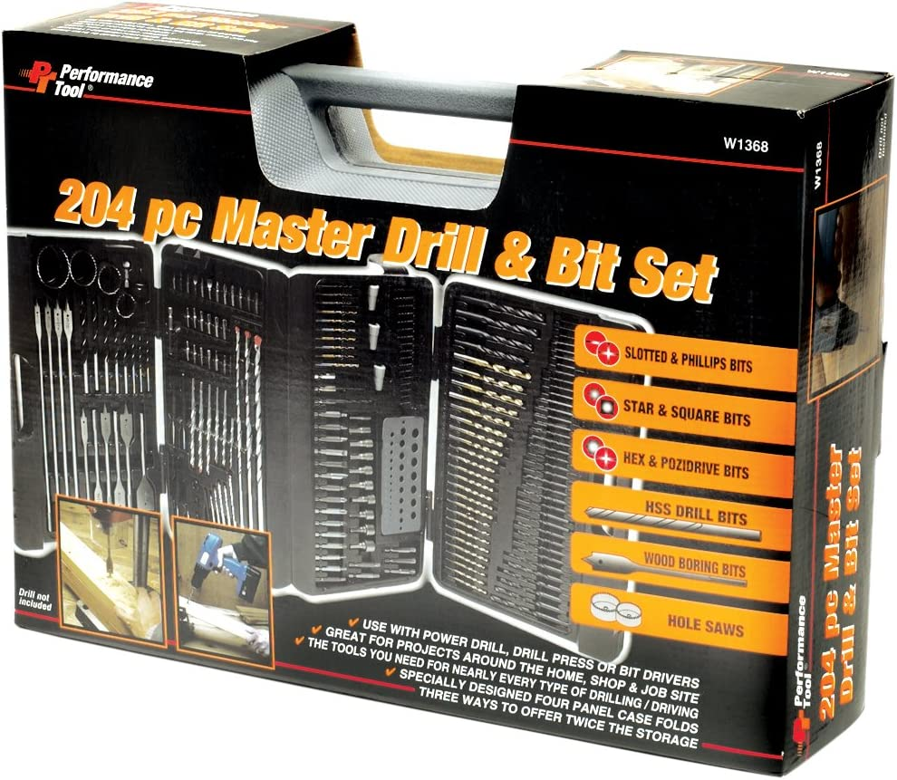 29-Piece Performance Tool W9017 Drill Bit Set with Steel Case Titanium Coated