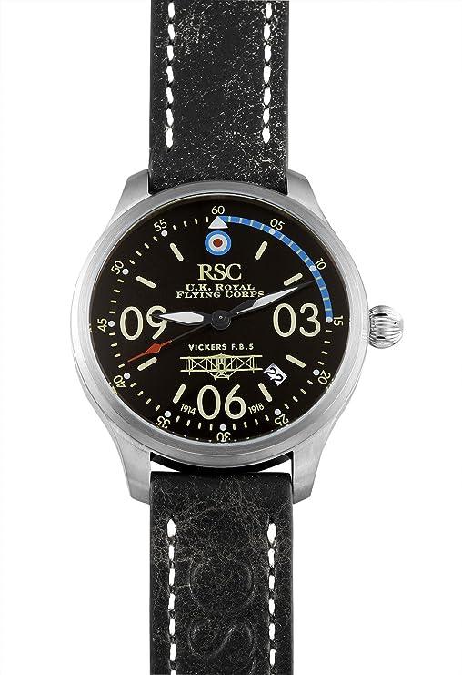 Amazon.com: RSC Pilot Watches Mens Analogue Quartz Watch with Leather Bracelet Vickers F.B. 5 rsc202: Ronald Steffen: Watches