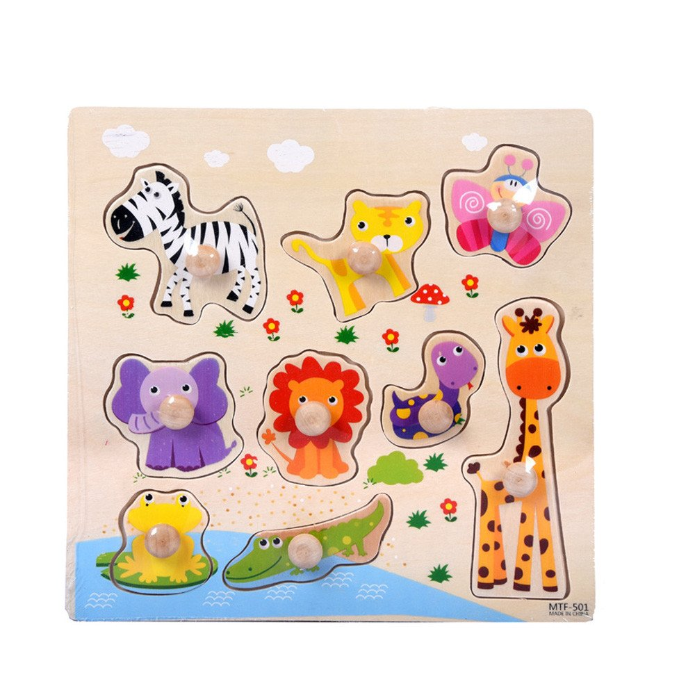 F_Gotal Wooden Puzzles for Kids Age 18-24 Months Preschool 9 Piece Wooden Seabed Animals Puzzle Jigsaw Classic Developmental Educational Toys for Toddlers Boys Girls Baby Gifts