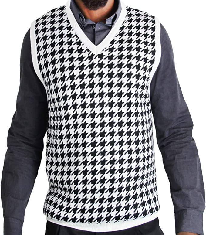 60s 70s Men's Jackets & Sweaters Blue Ocean Big Men Houndstooth Jacquard Sweater Vest  AT vintagedancer.com