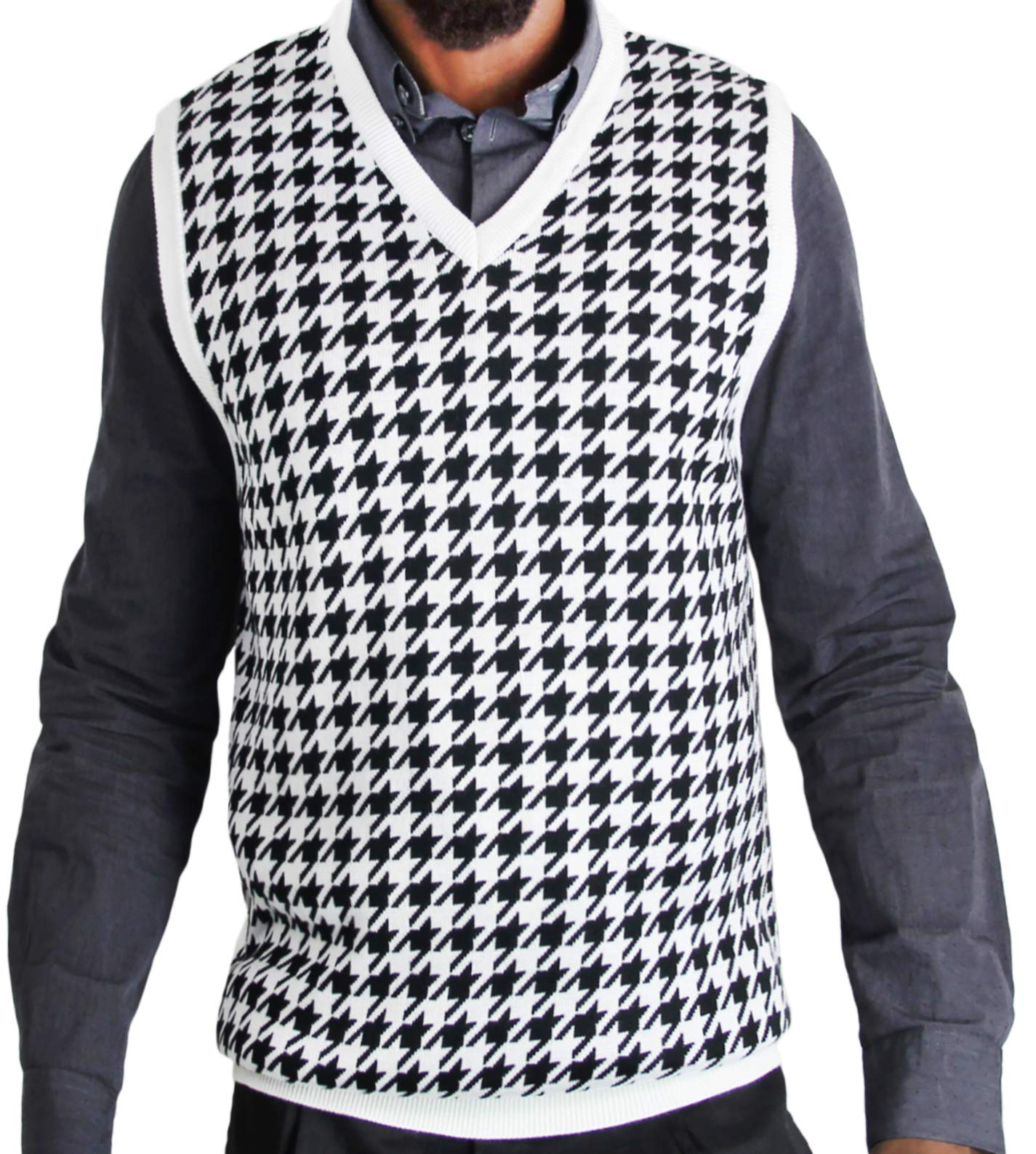 Blue Ocean Jacquard Houndstooth Sweater Vest-2X-Large by Blue Ocean