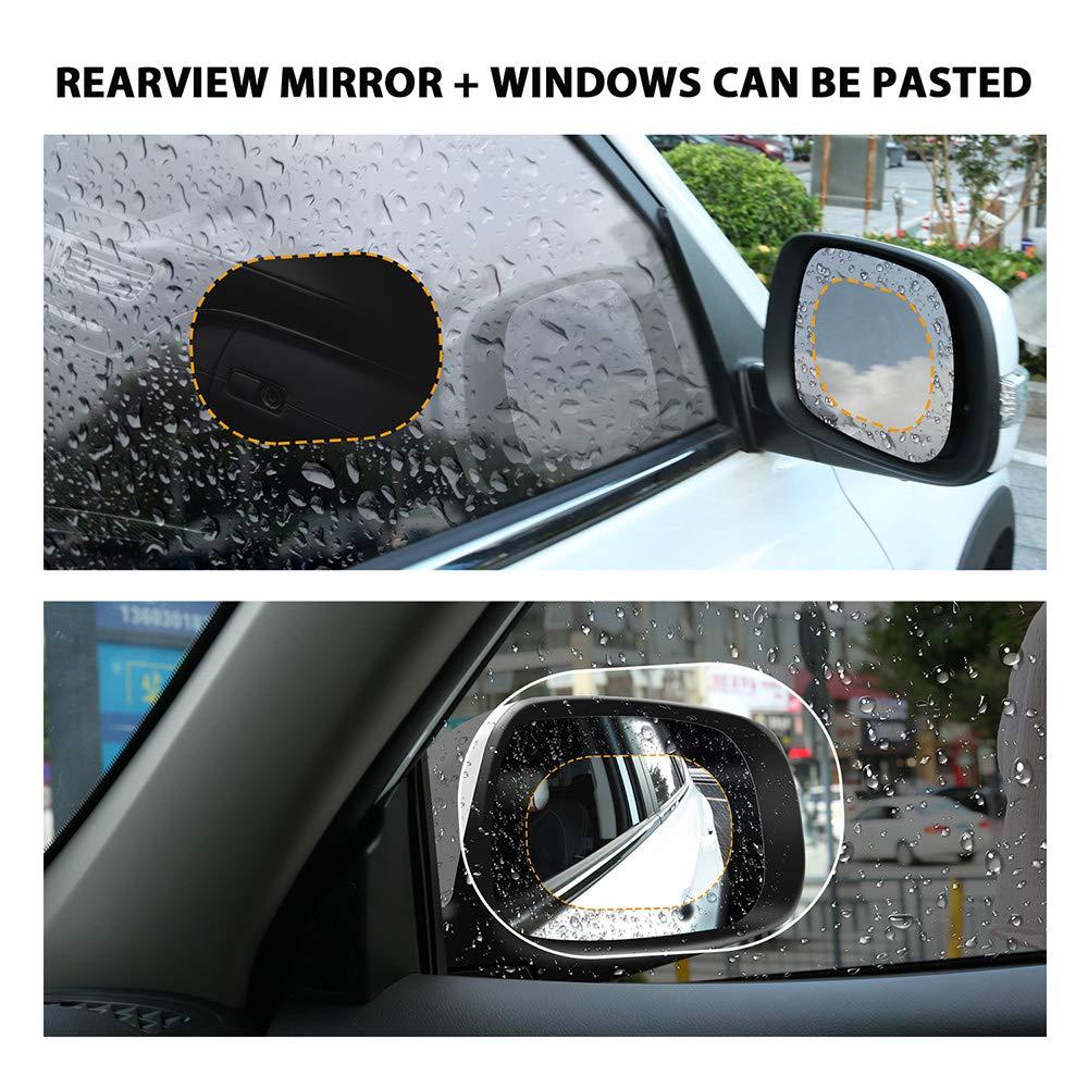 Anti-Fog HoHoHoHot HD Waterproof 100x145mm Screen Protector Car Rear View Mirror Film 4-Pack Clear Rear View Mirror Window Clear Nano Film Anti-Glare Rainproof