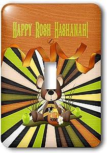 3dRose Beverly Turner Rosh Hashanah Design - Image of Rosh Hashanah, Bee Bear, Honey, Apples, Ribbon, and Stripes - single toggle switch (lsp_325237_1)
