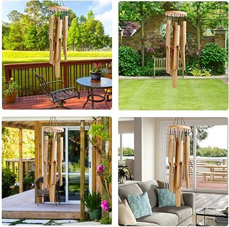 Carillón de viento de bambú, para exteriores y interiores, con sonido relajante natural, 6 tubos de bambú tallados a mano y un gancho, estilo clásico, ideal para decoración del hogar,longitud de 83cm: