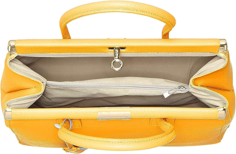 Chicca Borse Femmes tronc sac à main avec bracelet en cuir 35 x 28 x 16 cm - mod. Matilde Jaune