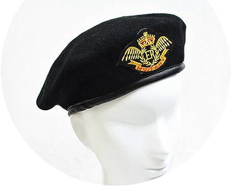 0176349fc13ac Amazon.com  100% Wool Hat Performing Expendables Airline Stewardess Uniform  Sailor Dance Metal Beret Hats