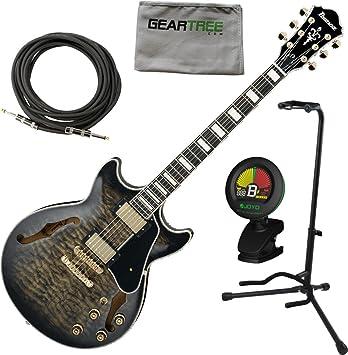 Ibanez am93tks AM Artcore estilo expresionista guitarra eléctrica transparente negro sunburst W/Cable, geartree gamuza, soporte, y sintonizador: Amazon.es: ...