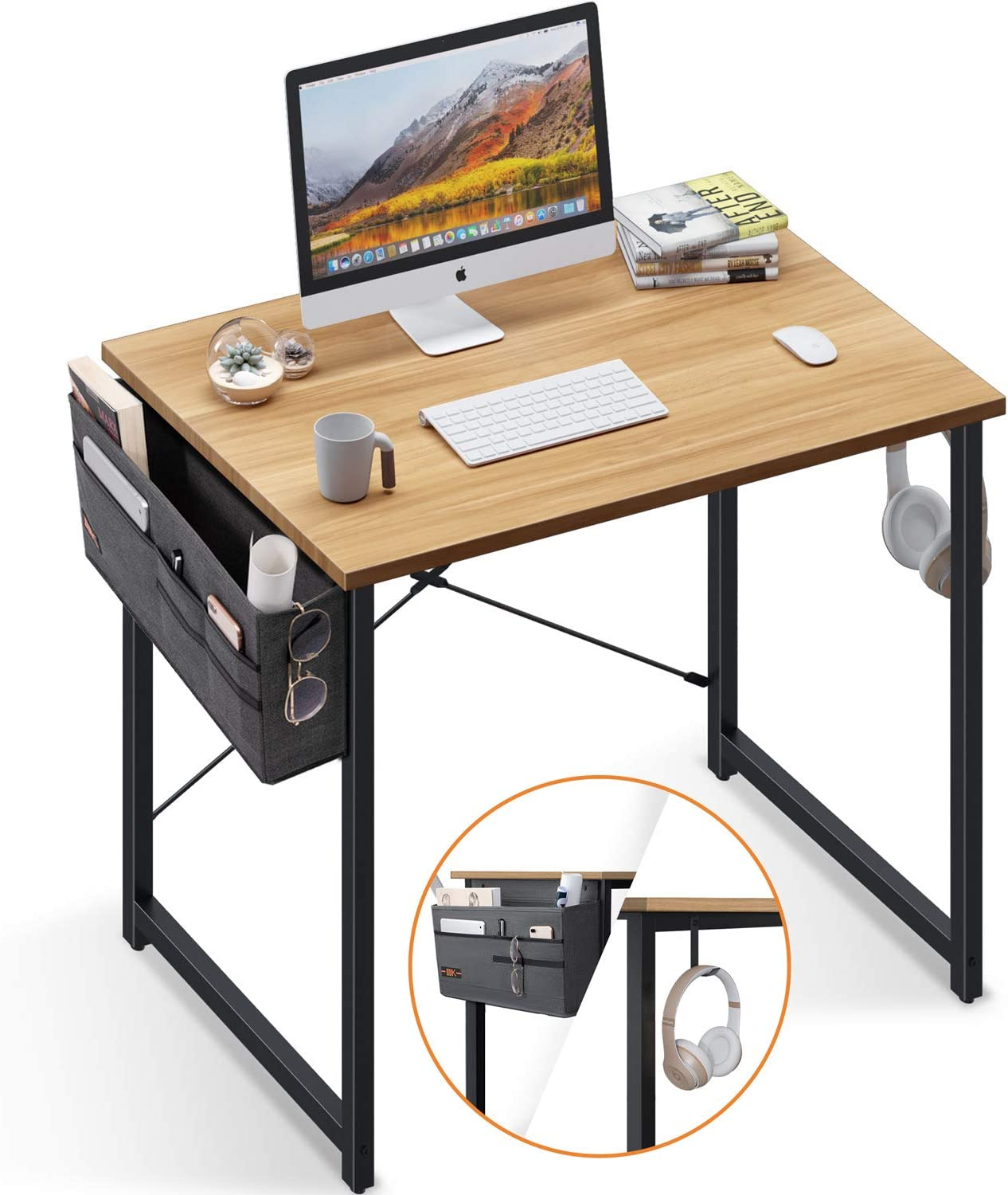 Computer Writing Desk 31 inch, Sturdy Home Office Table, Work Desk with A Storage Bag and Headphone Hook, Walnut