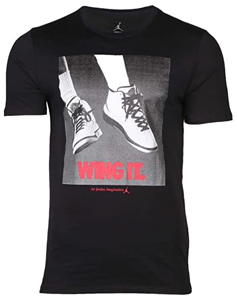 082e07d9794 Amazon.com: Jordan 725017-010 Men AJ 2 Wing IT Tee Black/Gym Red: JORDAN:  Clothing
