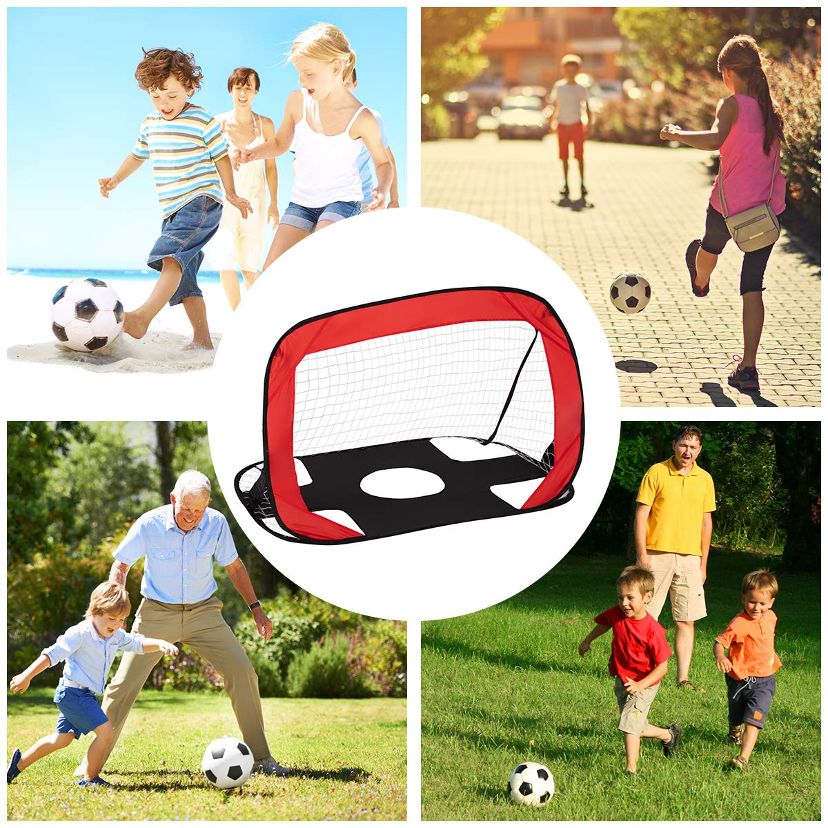 2 In 1 Pop Up Football Goal - Pro Size 110 x 80 x 80cm - Quick Set Up Goal with Target Shot Net Football Training Net, Soccer Training Net with Portable Carry Bag for Kids Children Indoor Outdoor Play COSTWAY