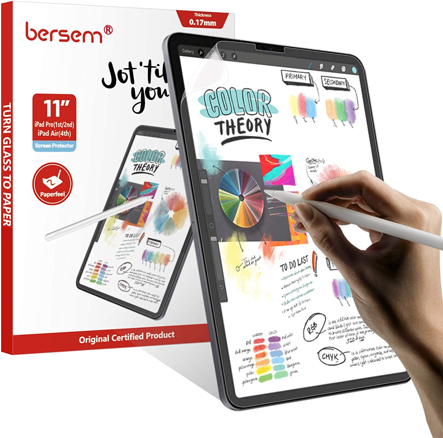BERSEM [3 Pack] Paperfeel Screen Protector Compatible with iPad Air 4 (10.9