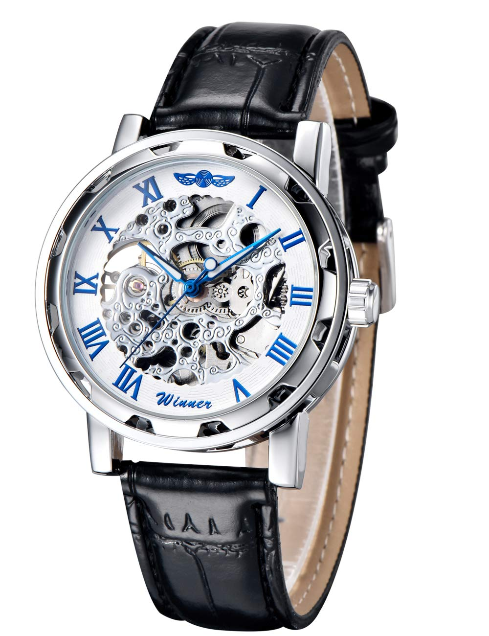 Gute Classic Steampunk Bling Automatic Mechanical Wristwatch See Through Skeleton Automatic Unisex Watch 4