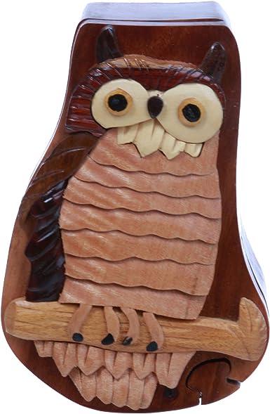 Hecho a mano de madera Búho/Pájaro Forma secreto joyas caja de Puzzle – búho: Amazon.es: Ropa y accesorios