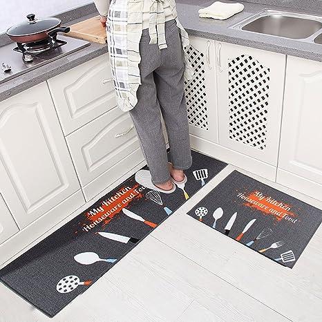 Levoberg 2 Pièces Tapis Cuisine Antidérapant Absorbant Tapis de Sol Devant  Evier Machine Lavable 40 * 60+40 * 120cm #2