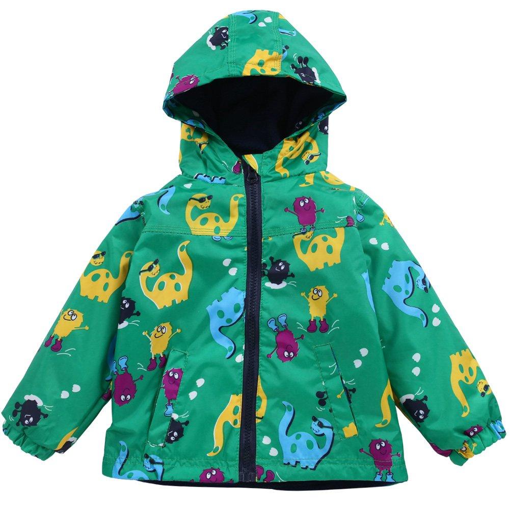 LZH Toddler Boys Waterproof Raincoat Dinosaur Hooded Jacket Coat