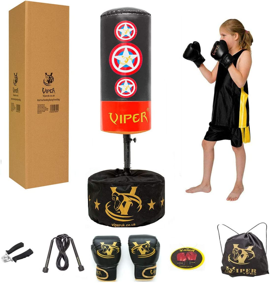 PUNCH BAG BALL AND MITTS GLOVES KIT BOXING GIFT SET FOR KIDS JUNIOR FREE STAND T
