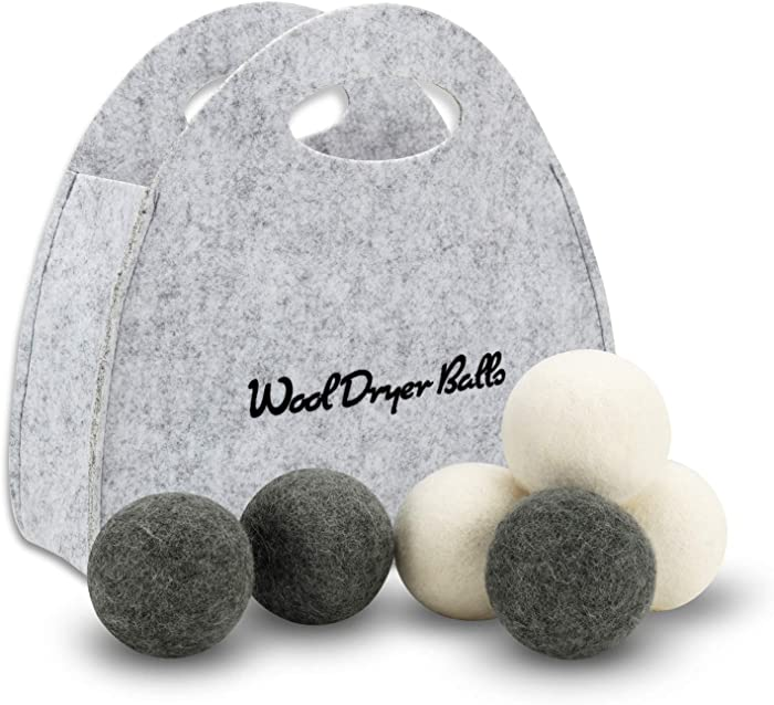 Wool Dryer Balls Laundry 6-Pack-100% Organic New Zealand Wool,Reusable Natural Fabric Softener for Reducing Wrinkles&Static Cling,Dry Better,Hypoallergenic,Chemical Free(3white+3gray)