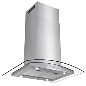"AKDY 36"" Euro Style LED Lights Stainless Steel Island Mount Range Hood."