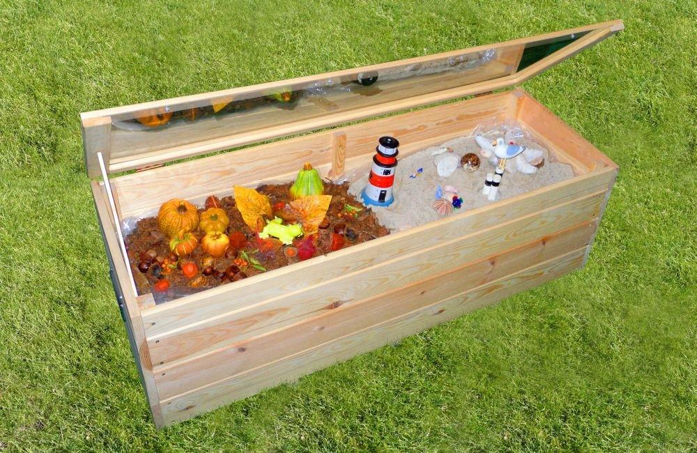 Deko Gartenbox Plexiglasplatte Utensilienbox Naturholz Gartendekoration