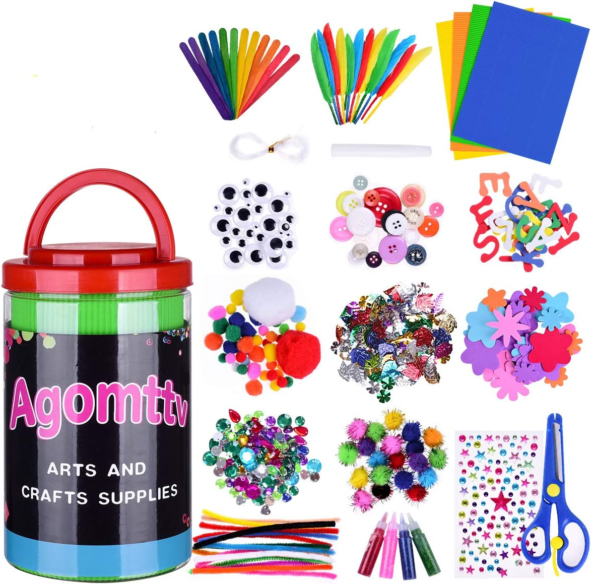 Amazon Com Arts And Crafts Supplies For Kids Toddler Diy Art Craft Kits Crafting Materials Toys Set For School Home Projects Craft Supplies With Pipe Cleaners For 4 5 6 7 8 9
