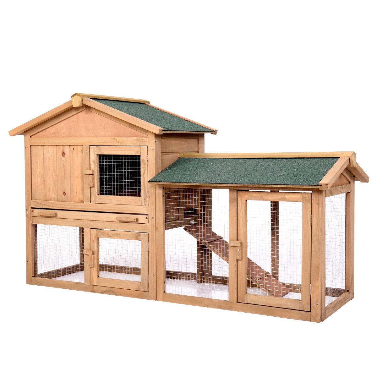 P PURLOVE Wood Bunny Hutch 54'' Large 2 Story Outdoor Bunny House with Removable Tray & Ramp, Backyard Garden Rabbit Cage/Guinea Pig House/Chicken Coop Nesting Box for Small Animals