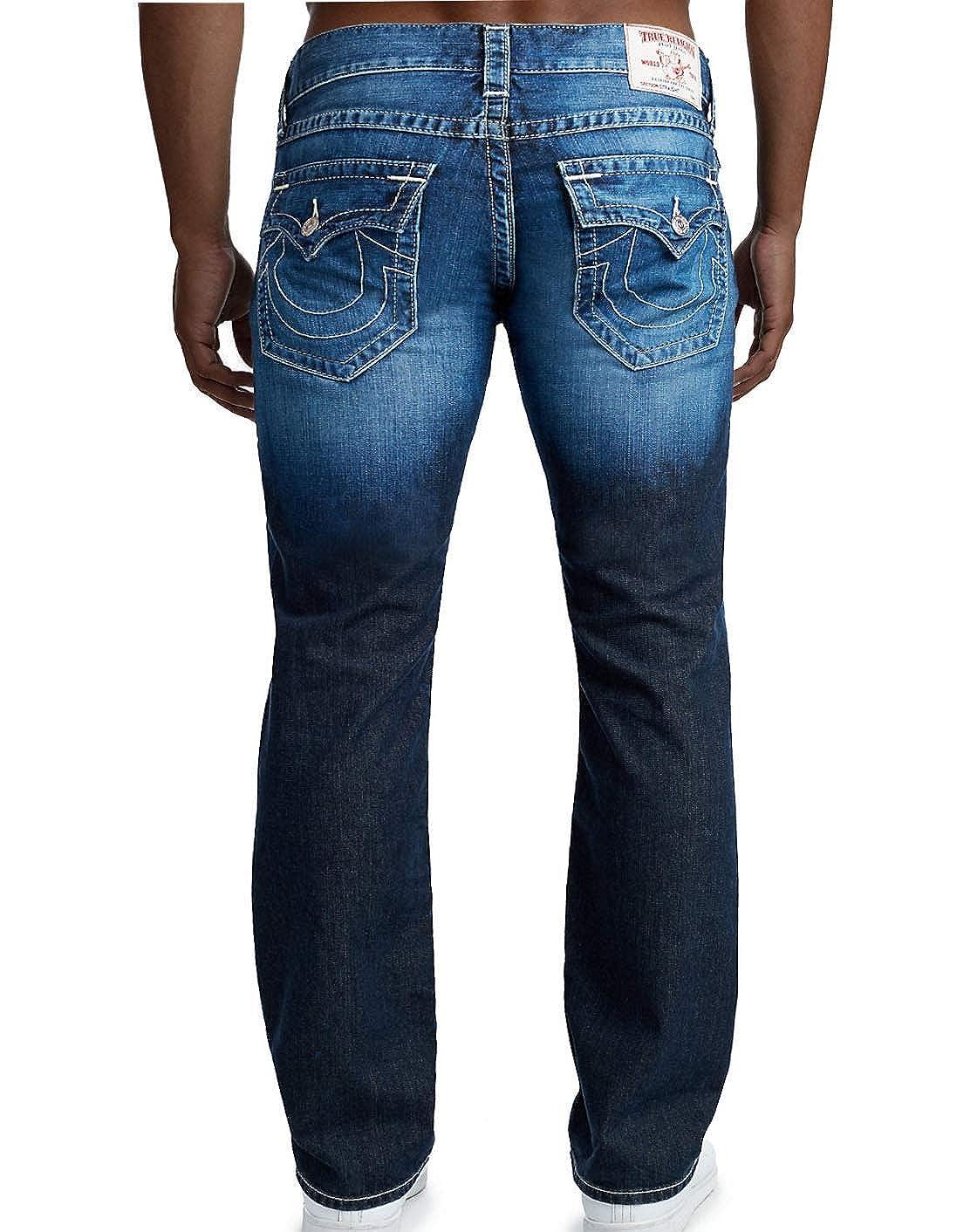 7b01090d2 Amazon.com  True Religion Men s Straight Flap Natural Denim Jeans-Midnight  Seeker-33  Clothing