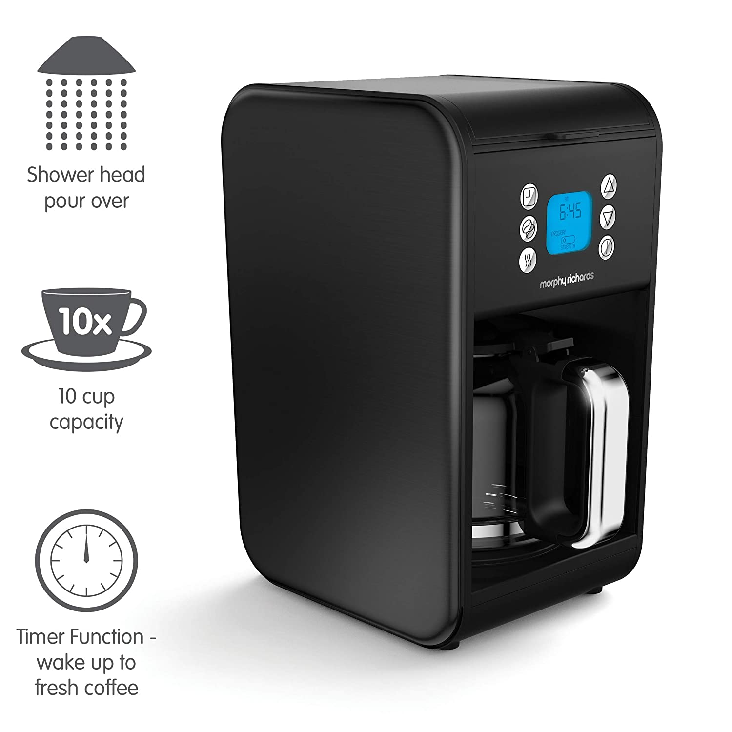 Morphy Richards Accents Independiente - Cafetera (Independiente, Cafetera combinada, 1,8 L, De café molido, 900 W, Negro)