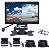 Camecho Vehicle Backup Camera 4 Split Monitor Front View, Rear View Camera Auto 18 IR Night Vision Waterproof Aviation 4 Pins Connector with 33 ft Cables For Trucks, RV, Trailer, Bus