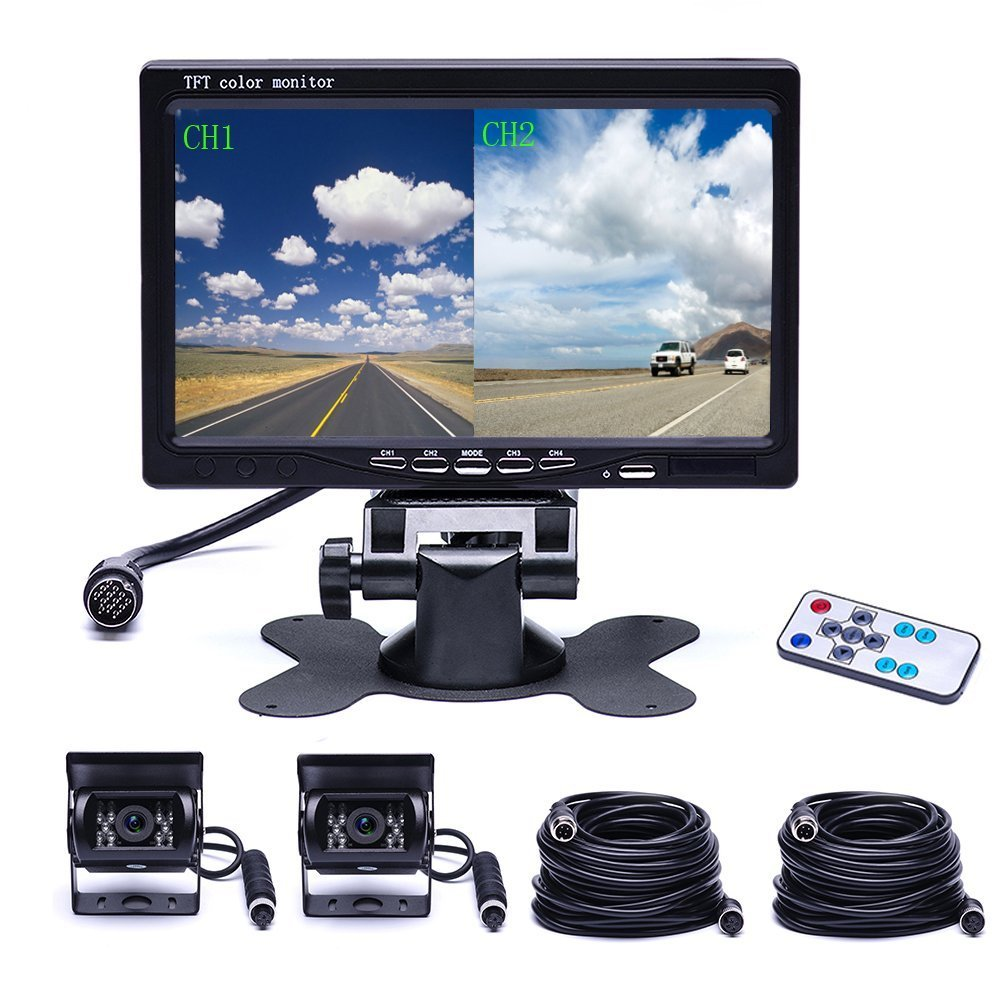 Camecho Vehicle Backup Camera 4 Split Monitor Front View Rv Trailer Wiring Side Diagram Rear Auto 18 Ir Night Vision Waterproof Aviation Pins Connector With 33 Ft Cables For Trucks Trailerbus