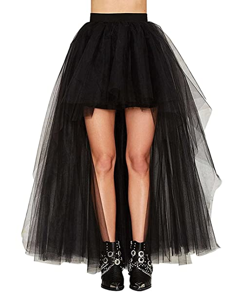 a53d344c744 Diandiai Women s Hi-Lo Petticoat Hi Lo Prom Evening Dress Black Tulle Skirt High  Low