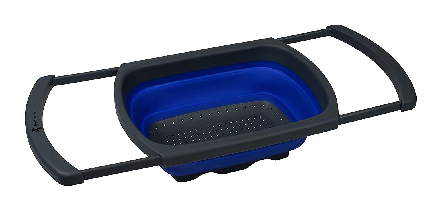 Amazon.com: Kitchen Candy Collapsible Over The Sink Colander / Strainer,  Blue: Kitchen U0026 Dining