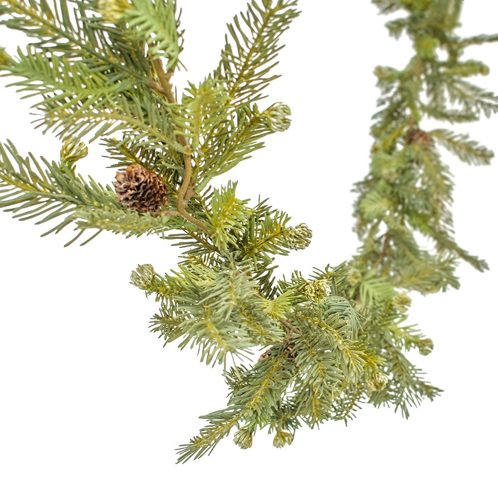Faux Fir & Pine Cone Garland, Realistic Swag, 6 Feet Long, Artificial, Lifelike, Wedding, Home, Venue, Holiday, Christmas, Wreath, Woodland, (Green)