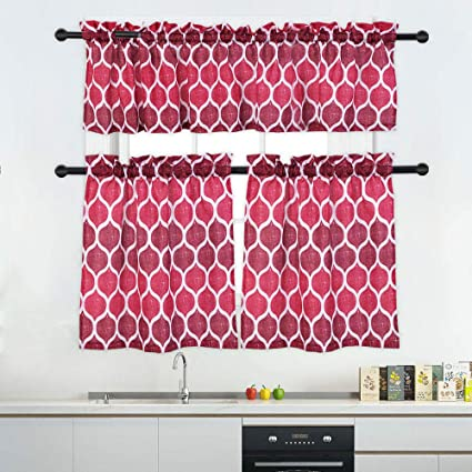 Haperlare 3 Pieces Kitchen Curtain Tier & Valance Set, Moroccan Pattern  Kitchen/Cafe Window Curtain Sets, Rod Pocket Tailored Curtains for Small ...
