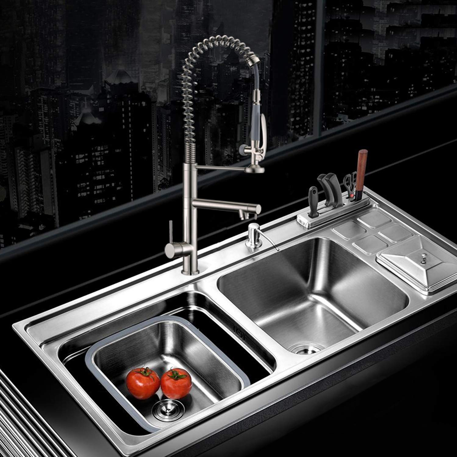 Commercial Style Heavy Duty Solid Brass Coiled Spring Kitchen Sink ...