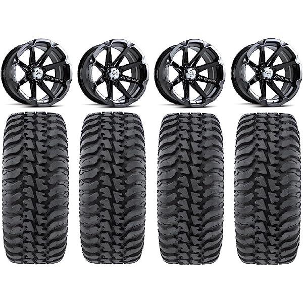 9 Items 4x156 Bolt Pattern 12mmx1.5 Lug Kit Bundle MSA Black Kore 14 ATV Wheels 32 Kanati Mongrel Tires