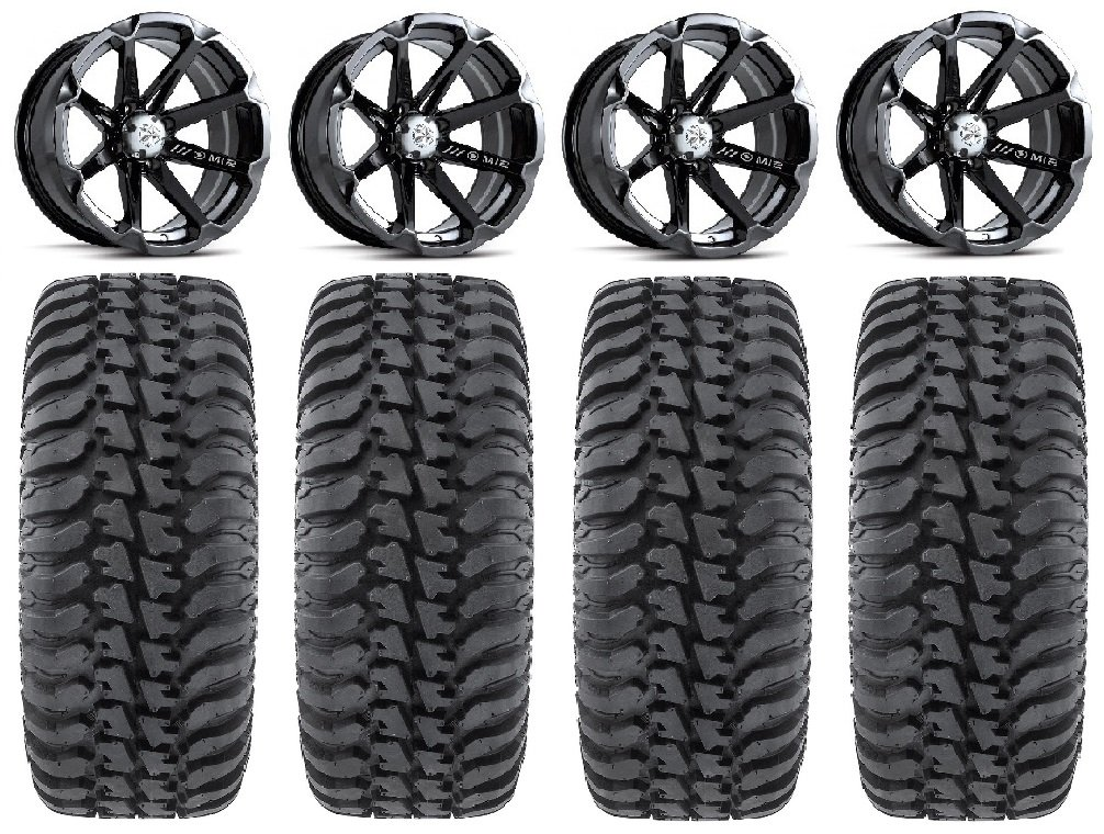 Bundle - 9 Items: MSA Black Diesel 14'' ATV Wheels 28'' Regulator Tires [4x156 Bolt Pattern 12mmx1.5 Lug Kit]