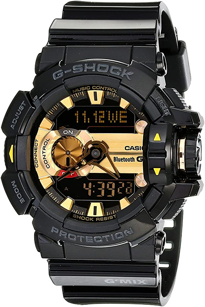 Casio G-Shock Mens GBA400 GMix Rotary Switch BLE Watch, Black/Gold, One Size