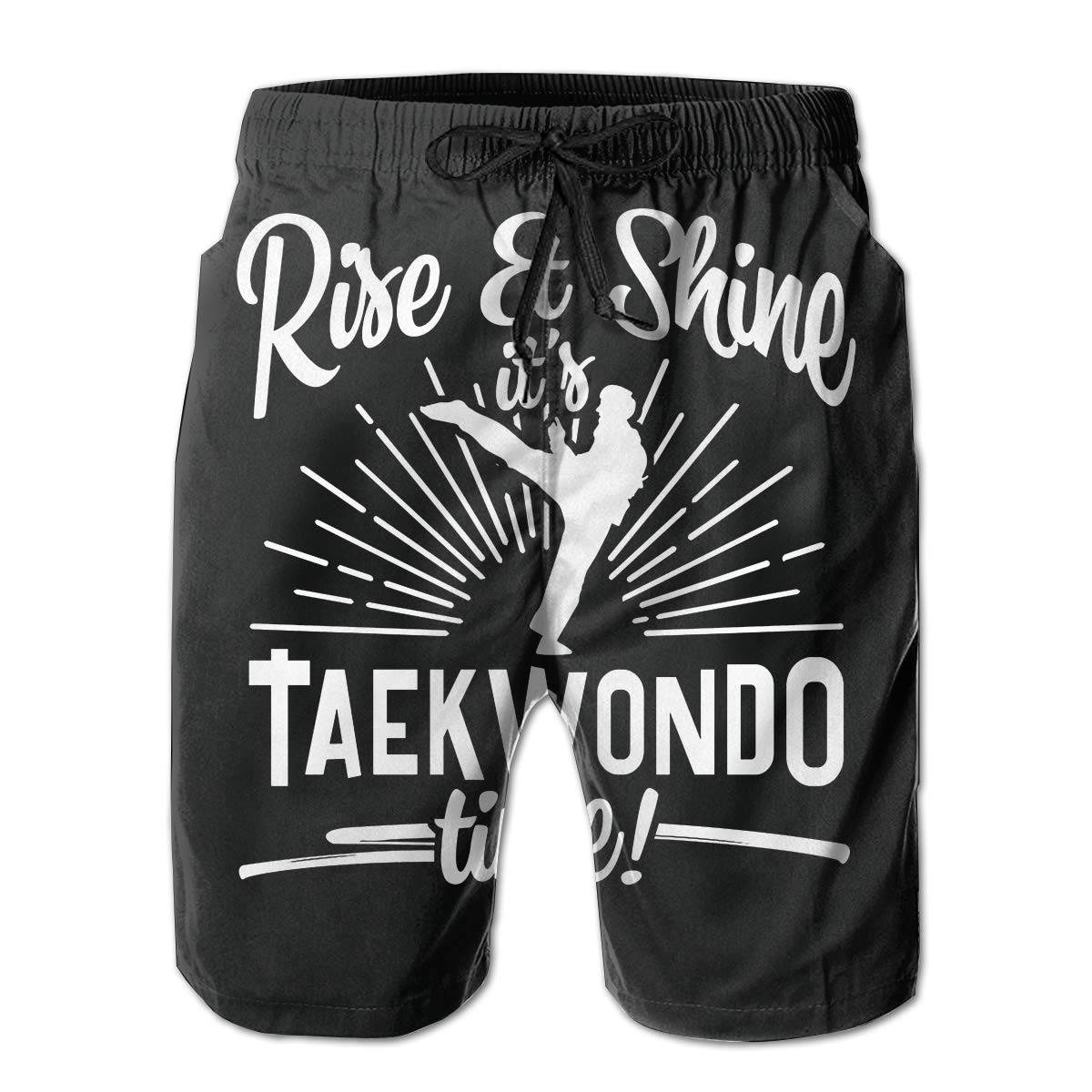 JIA LI Mens Board Shorts Taekwondo Summer Printed Quick-Dry Swim Trunks Beach Shorts