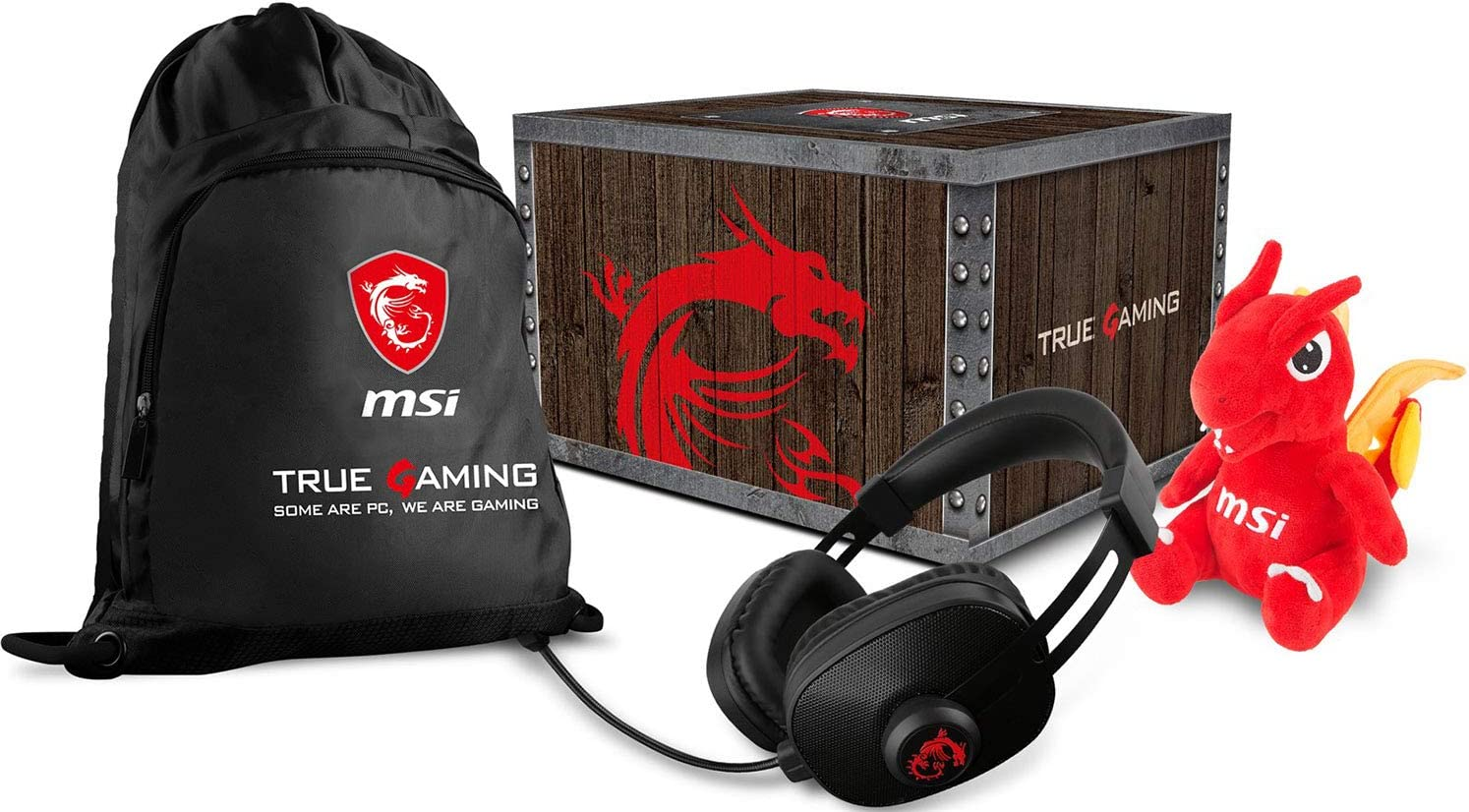 MSI Gaming Level Loot Box con Dragon Fever Gaming auriculares, bolsa y peluche de la suerte (957-1XXXXE-066): Amazon.es: Electrónica