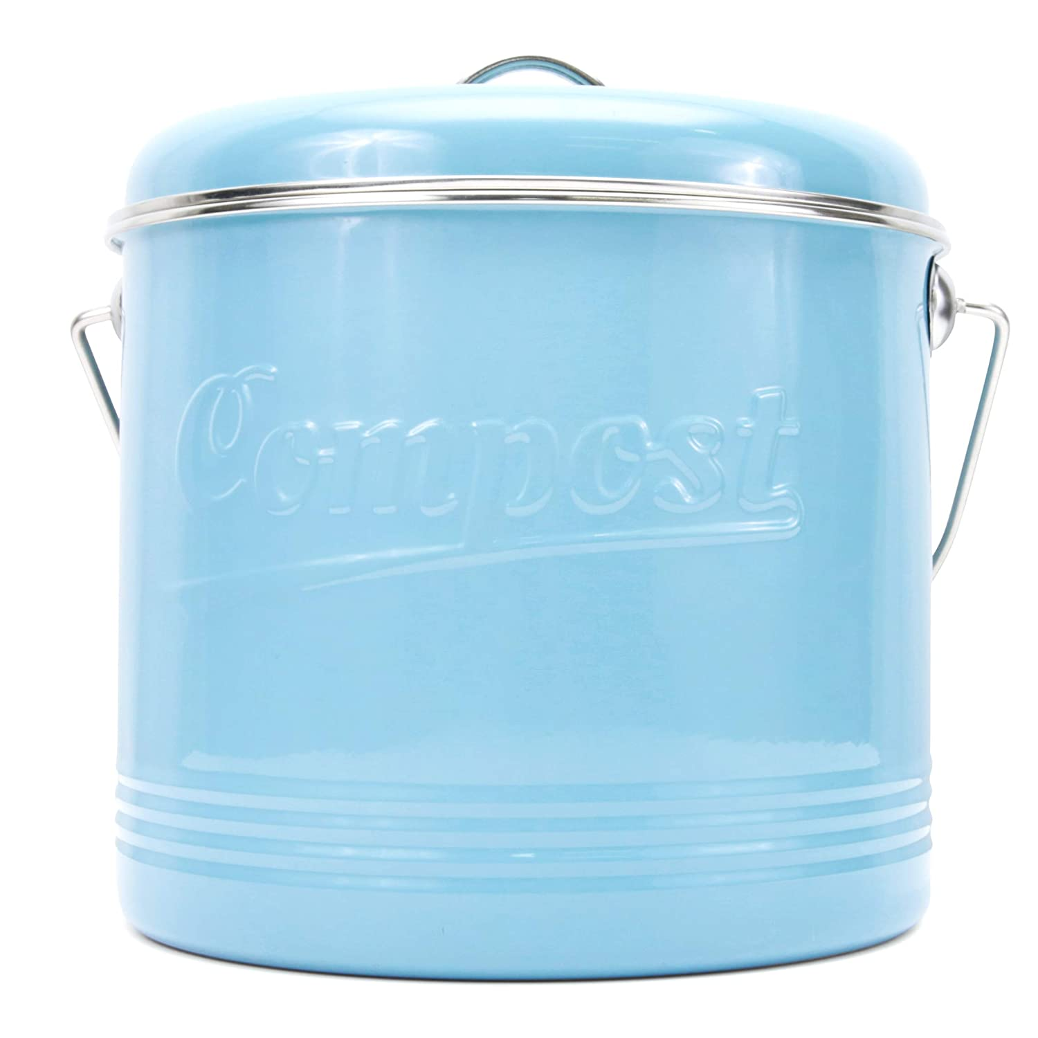 Compost Bin with 7 Free Charcoal Filters by Silky Road - 1.3-Gallon / 5-Liter - Embossed Retro Blue Powder-Coated Carbon Steel - Kitchen Pail with Lid, Trash Keeper Container Bucket, Recycling Caddy Silky Road Products