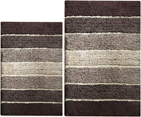 2 Piece Cordural Stripe Bath Rug Set, Brown-Beige with Latex Spray Non-Skid Backing 21x34 /& 17x24 100/% Pure Cotton Chardin Home