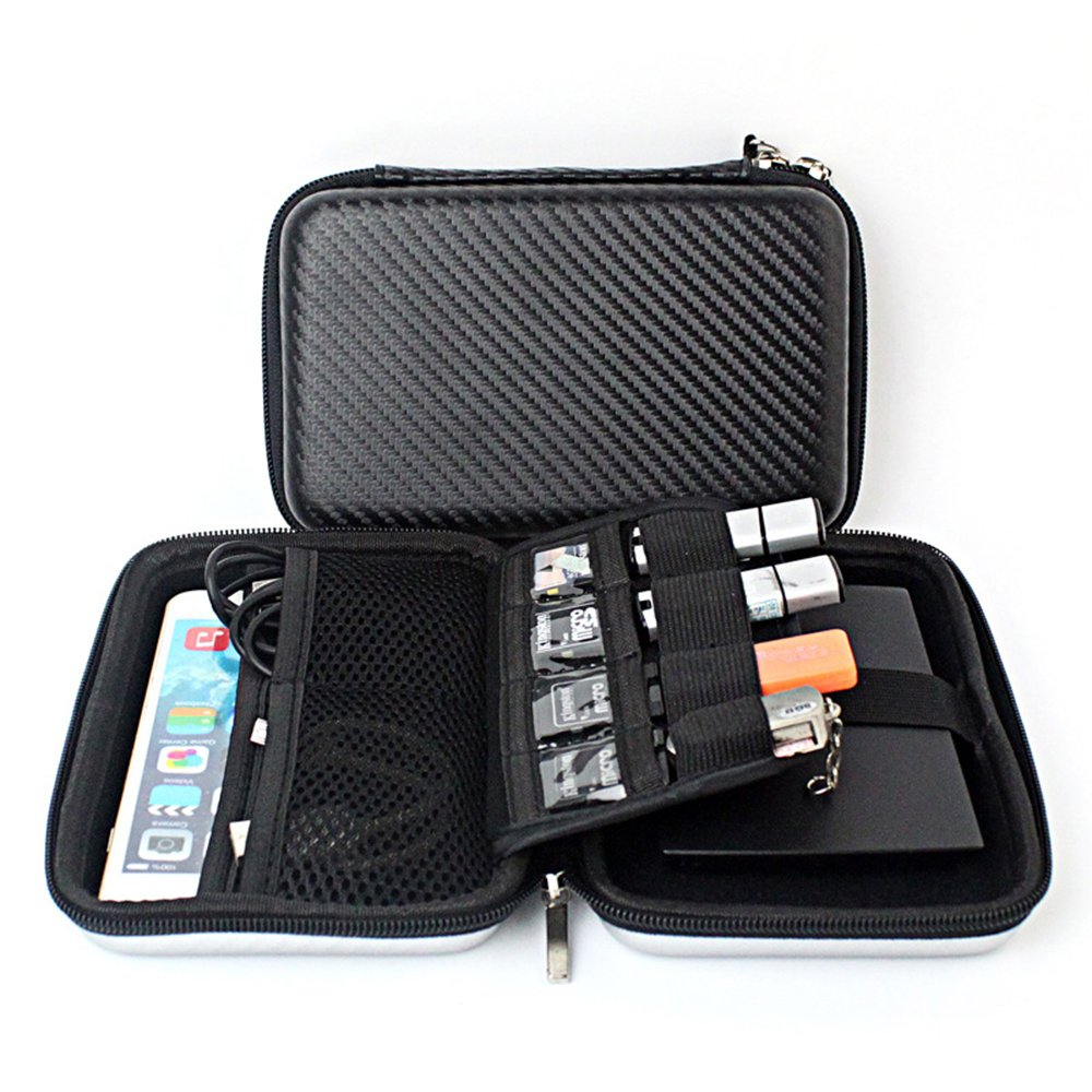 Chihom Travel Wallet Electronics Organizer, Portable Waterproof Hard Carrying Case Universal Electric Accessories Hand Bag for Various USB, Phone, Charger and Cable, Black by Chihom (Image #1)