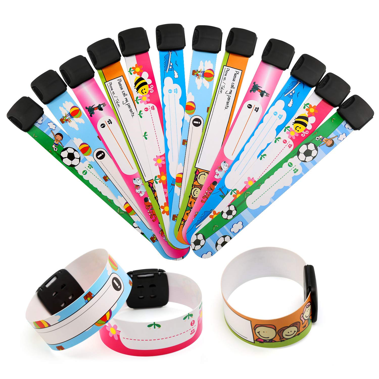 12Pcs Waterproof Name Emergency Wrist Bands Labeling SOS ID Bracelet Wristbands for Children Boys and Girls Ballery Safety ID Wristband for Kids