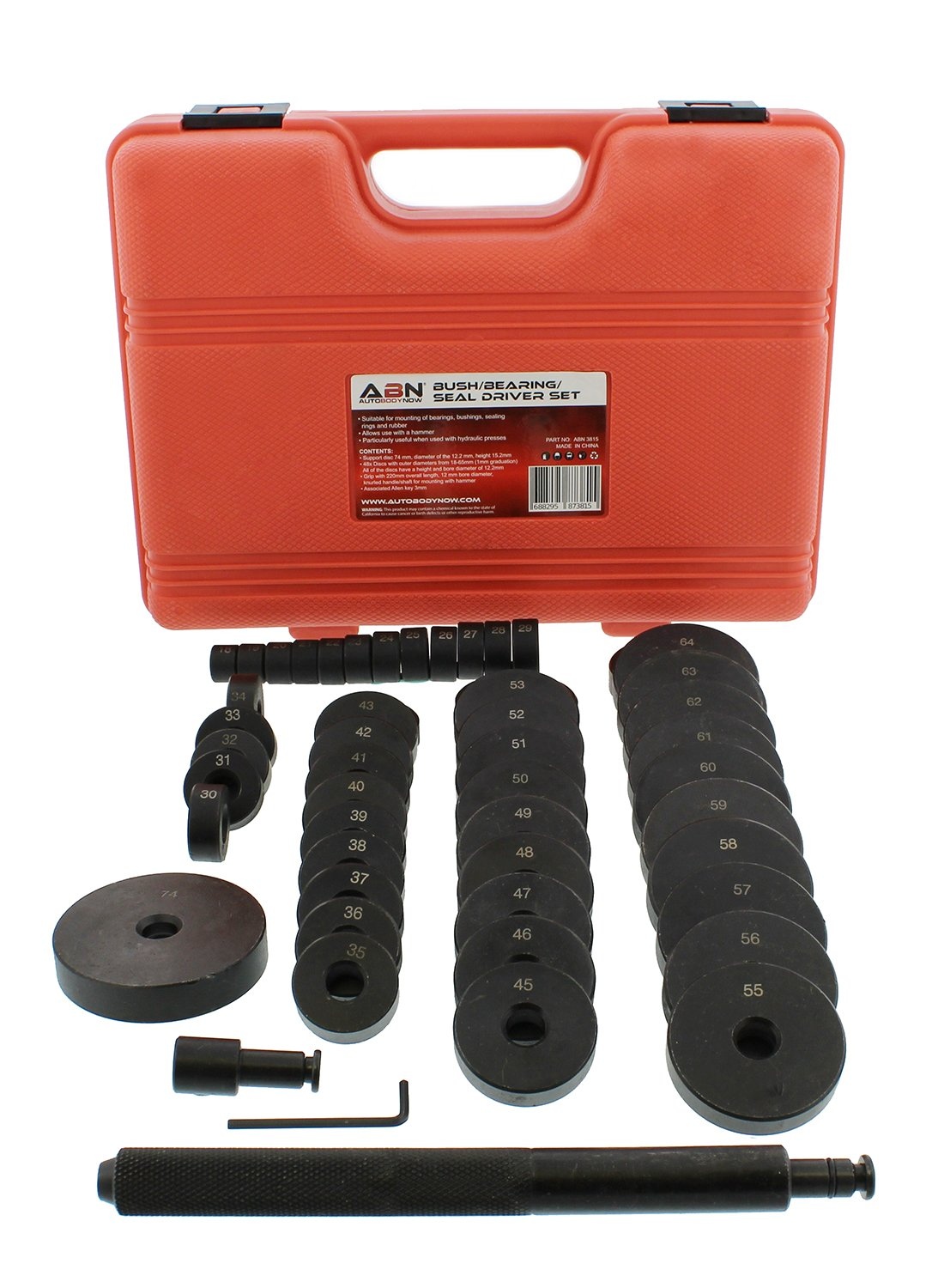 ABN Bush, Bearing, Seal Driver 50-Piece Set with Carrying Case – 18-65mm & 74mm Metric Discs, Shaft, Allen Key, Screw by ABN (Image #4)