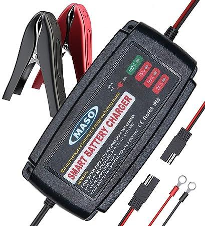 MASO Cargador de batería de Coche Totalmente automático, 12 ...