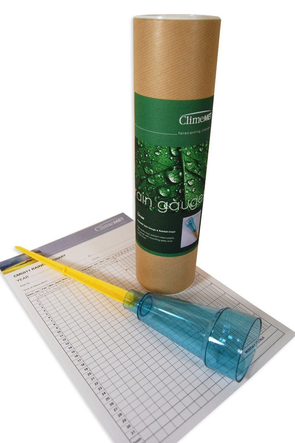 ClimeMET CM1088 Clear Plastic Manual Rain Gauge With Mounting Spike And CM5011 Rainfall Chart.