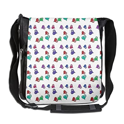 Lovebbag Artistic Pattern With Colored Hearts And Skulls Crossbody Messenger Bag